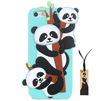 CASESOPHY 3D Soft Silicone Bamboo Panda Case for Apple iPhone 5/5s/SE 3D  Cartoon Cute Lovely Protective Bumper Gift for Boys Kids Teens Girls Women.