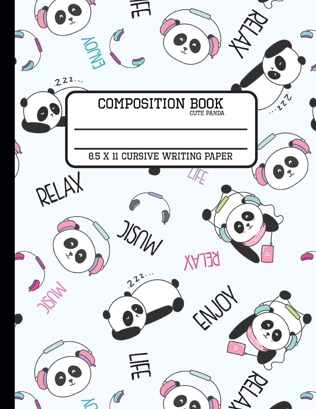 Composition Book Cute Panda Cursive Writing Paper: Back to.