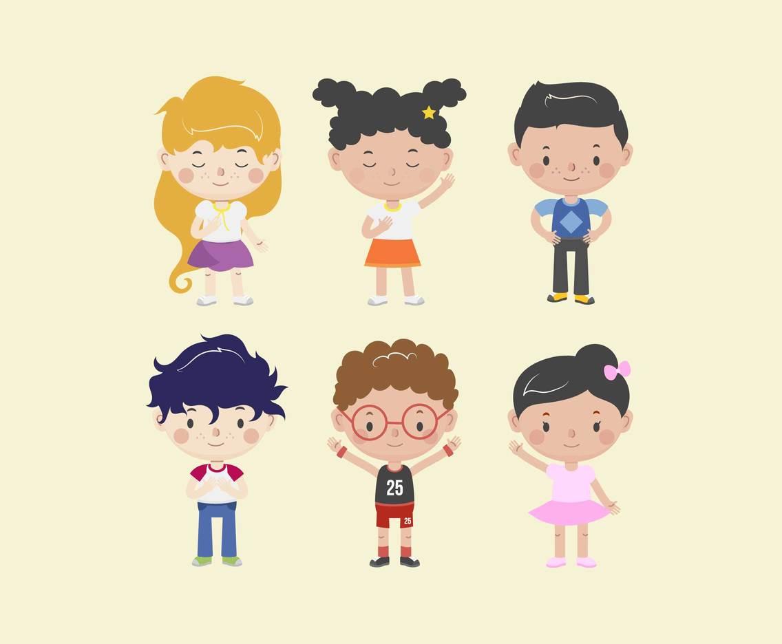 Cute Children Characters Vector Vector Art & Graphics.