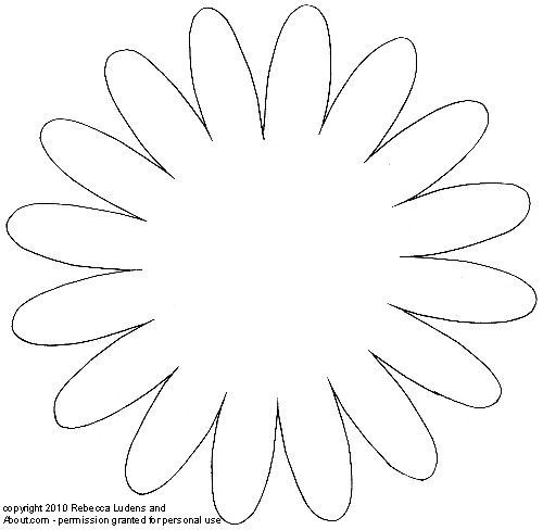5 petal flower pattern template #17