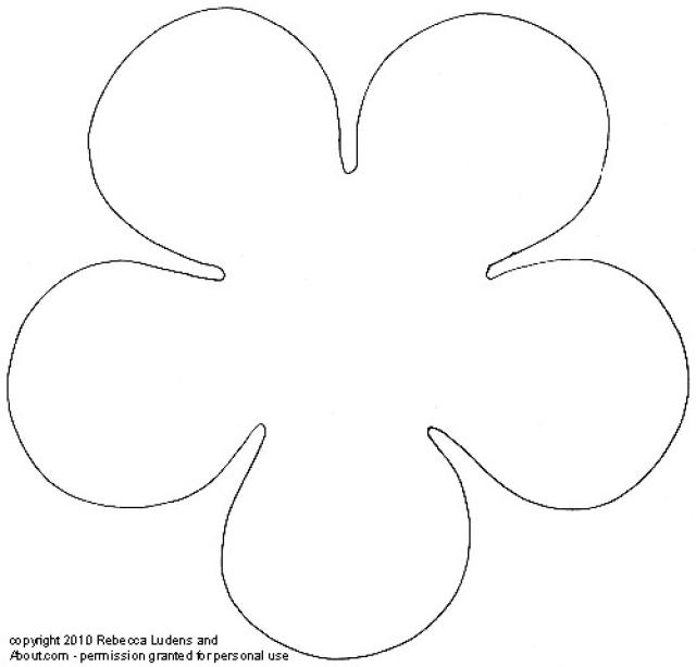 5 petal flower pattern template #2