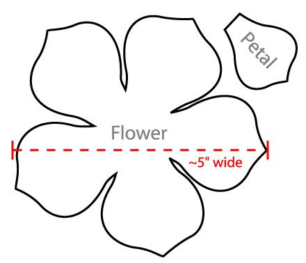 5 petal flower pattern template #4