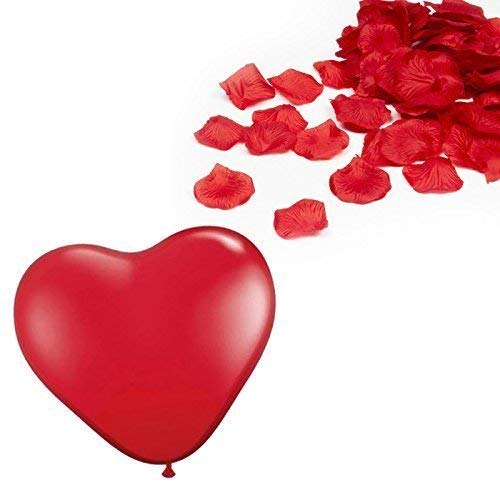 1000 Valentine\'s Day Red Rose Petal Decoration & 12 Red Heart.