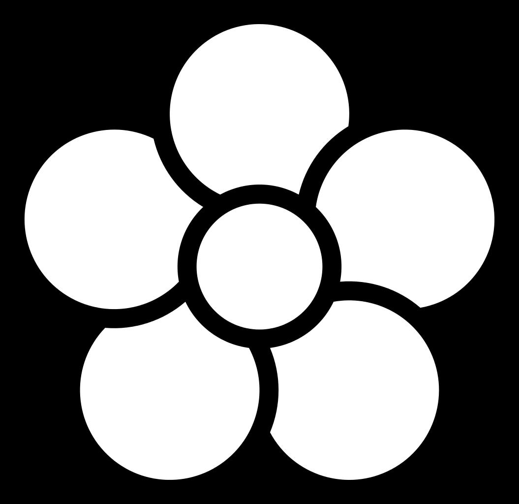 5 petal flower outline clip art.