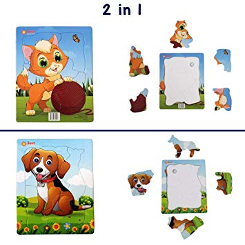 Jigsaw Puzzles Set (4 and 5 pcs) for Kids Ages 3,4,5 Year Old Toddlers.  Easy Large Pieces. Fun Learning Educational Toy for Boys Girls at Daycare,.