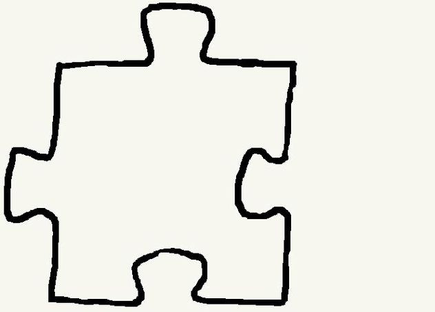 5 Piece Puzzle Template Clipart.