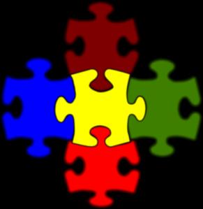 5 Piece Puzzle Clipart.