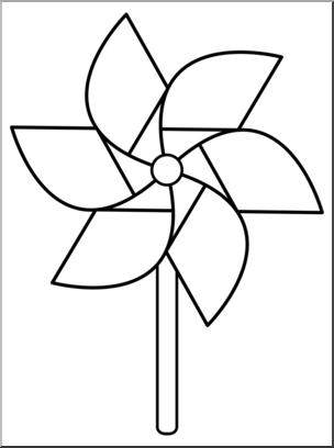 Clip Art: Pinwheel: 6 Blades 1 w/Stick B&W I abcteach.com.