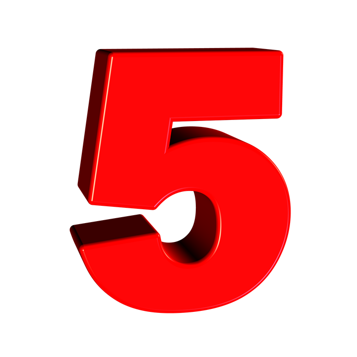 Number 5 PNG Transparent Image Icon #1.
