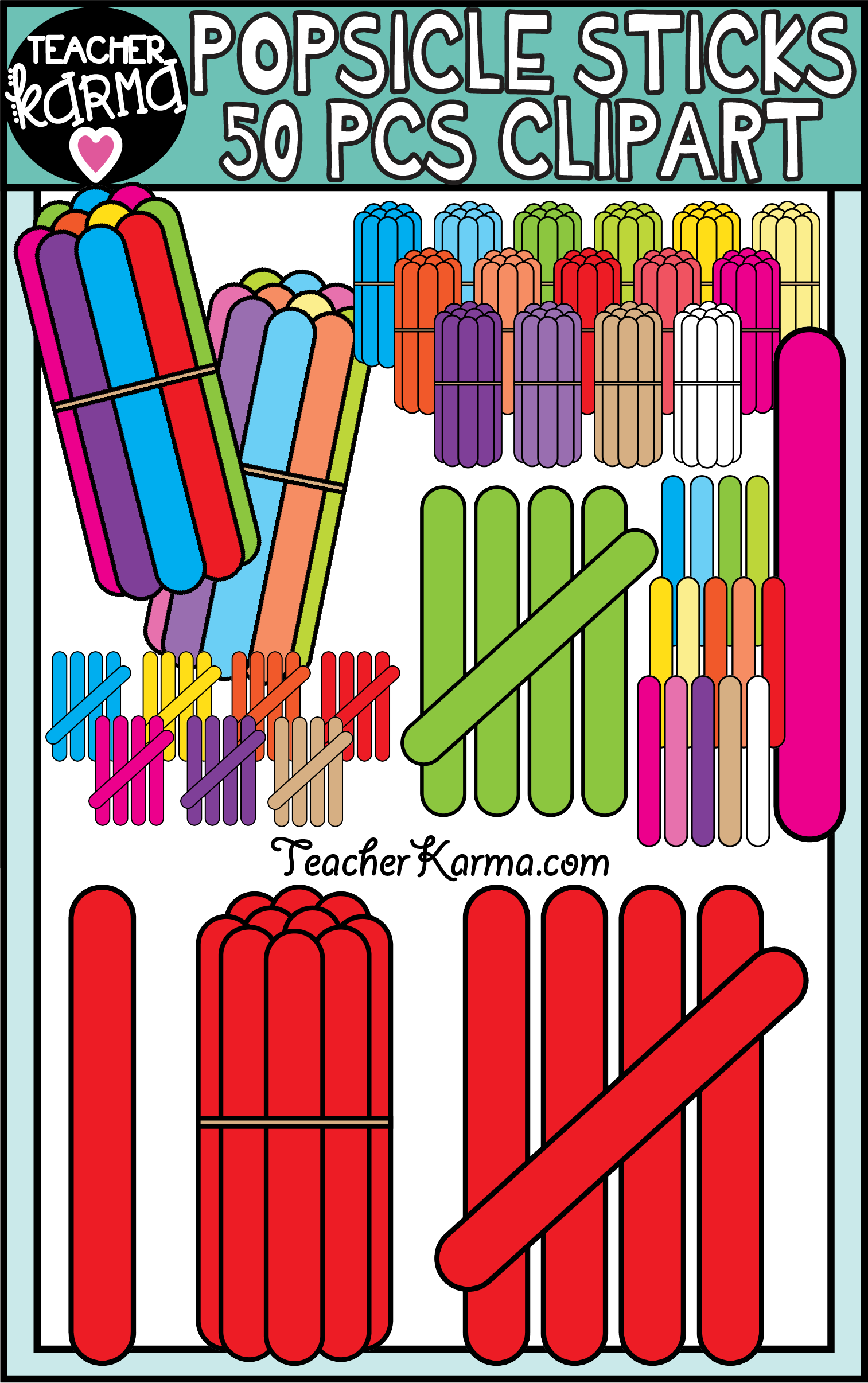 Popsicle Sticks Counting Clipart for Math.