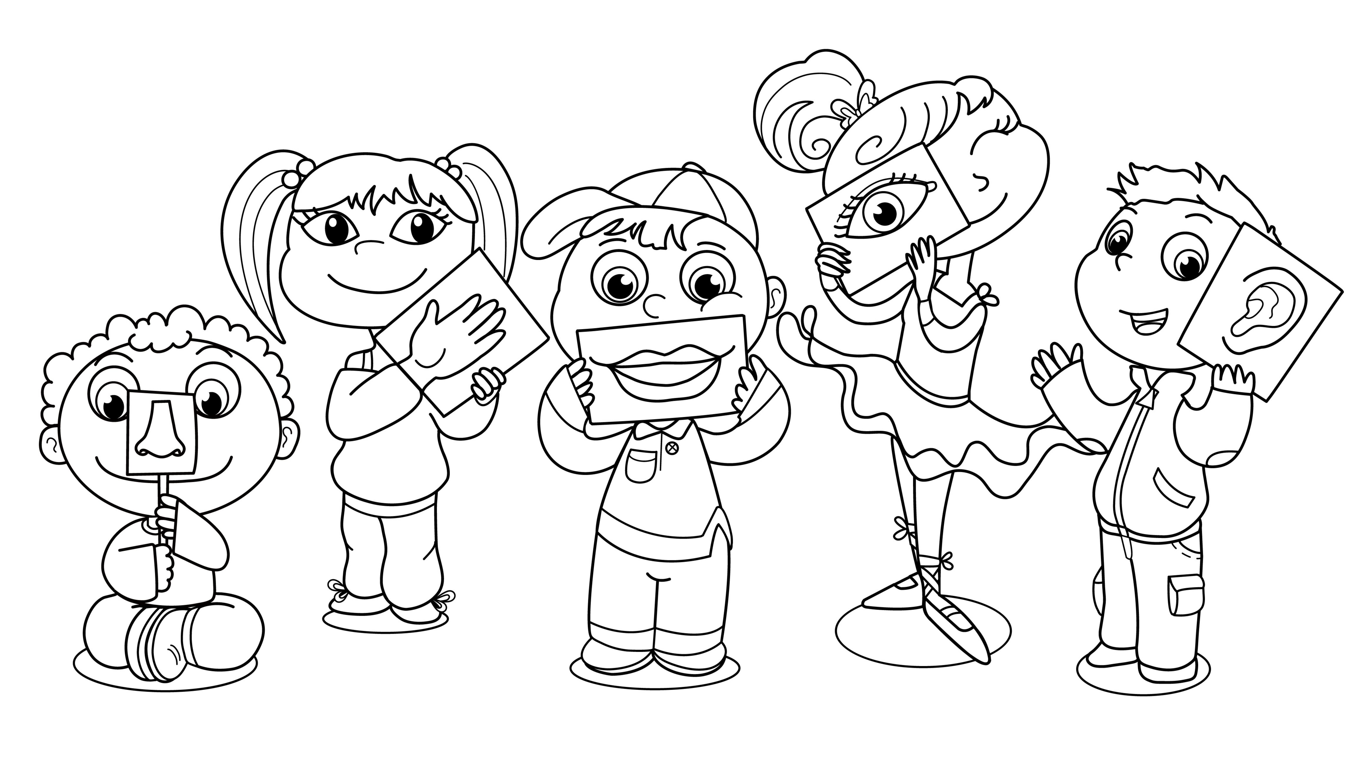 Fives Senses Coloring Page.
