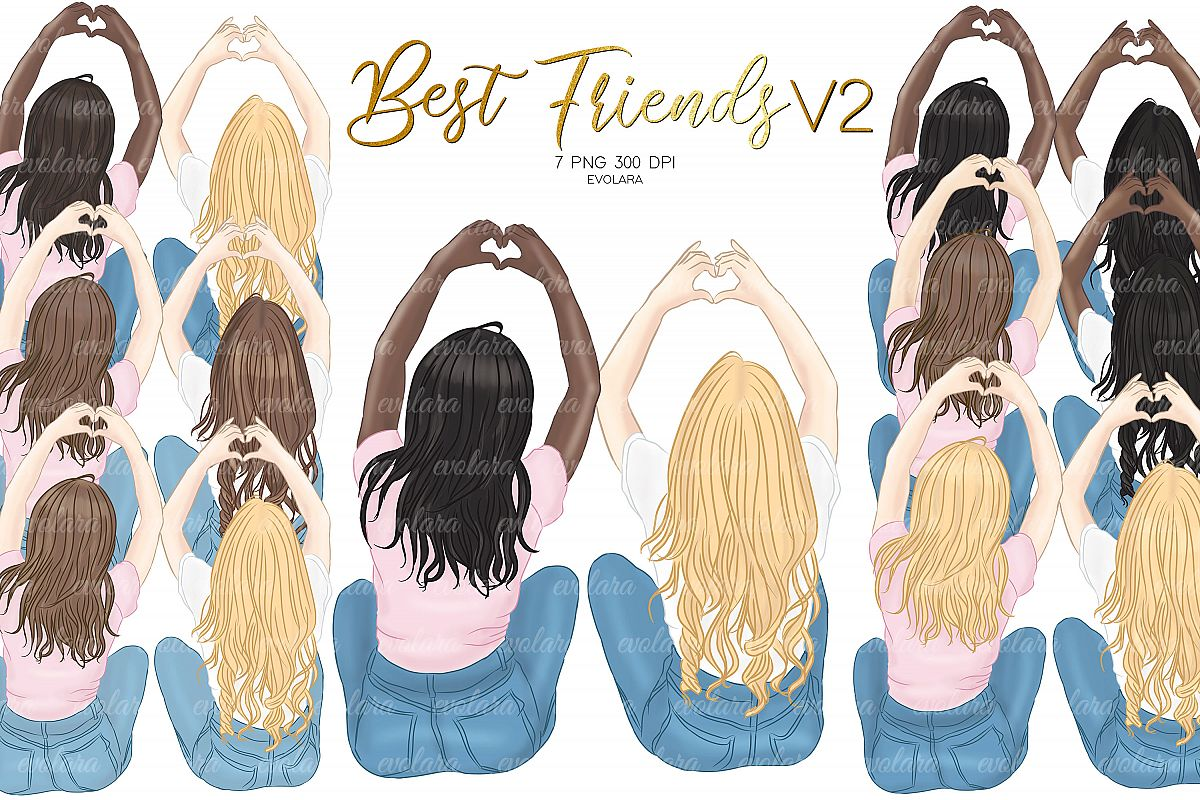 Best Friends Clipart Besties Clipart BFF Clipart Soul Sister.