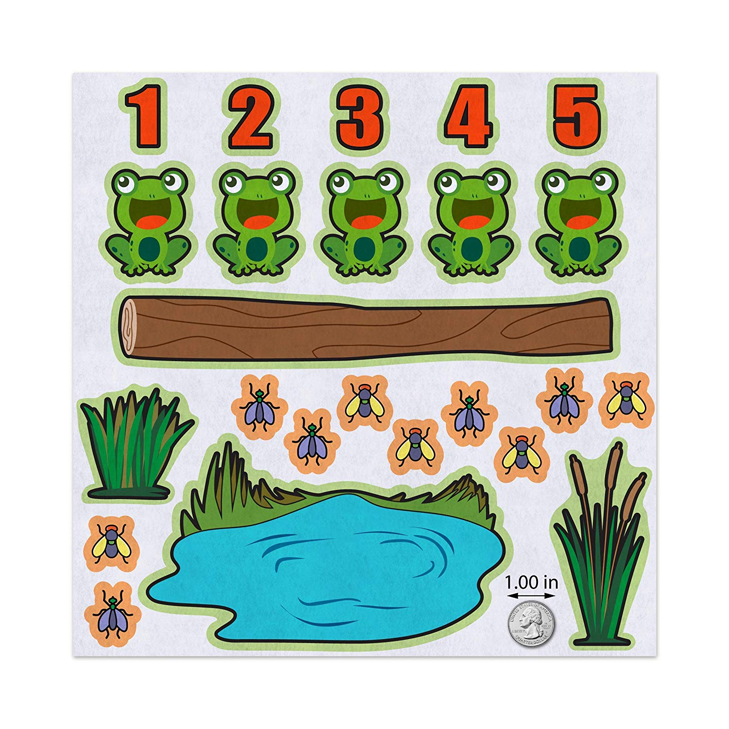 Amazon.com: 5 Green Speckled Frogs Nursery Rhyme Felt Play Art Set.
