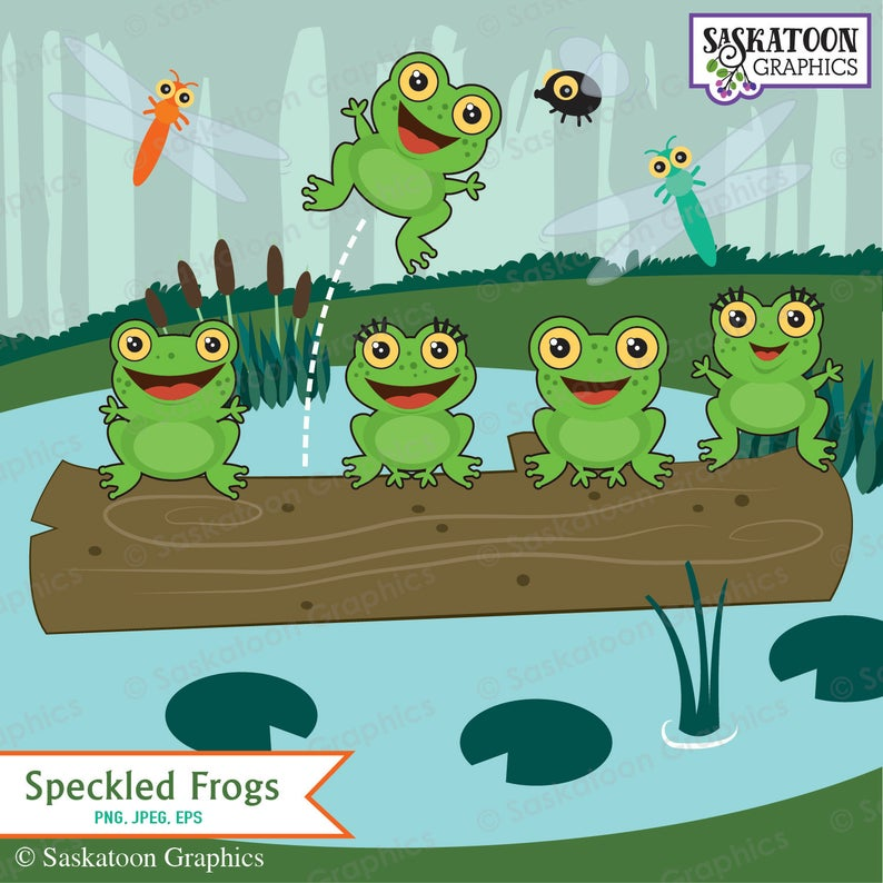 Five Green and Speckled Frogs Clipart.