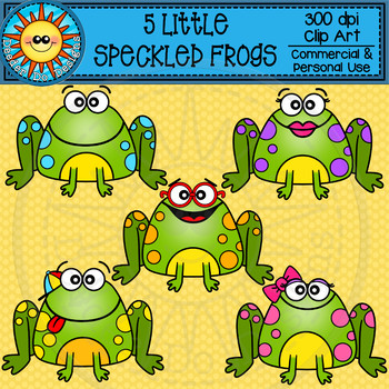 Five Speckled Frogs Clip Art.