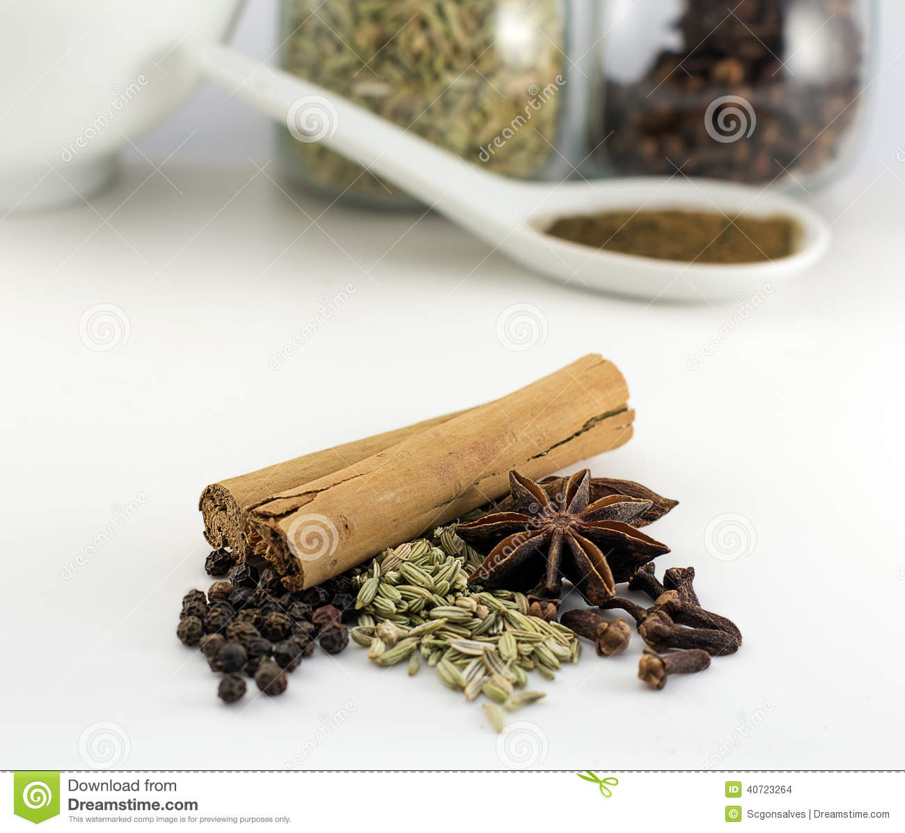Chinese Five Spice Powder Ingredients Stock Photo.