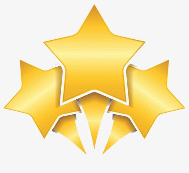 Golden Three Five Stars, Golden, Five Star, Radial PNG.