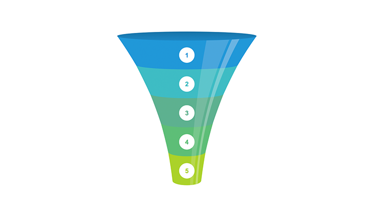 Funnel 5 step clipart for Keynote.