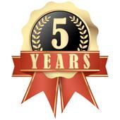 Jubilee button with banner and ribbons for 5 years Clipart.