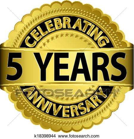 Celebrating 5 years anniversary gol Clipart.
