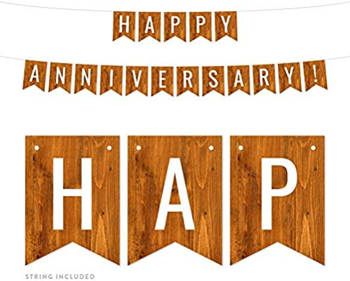 Andaz Press Rustic Barn Wood Wedding Anniversary Party Banner Decorations,  Happy Anniversary!, Approx 5.