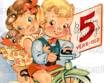 Vintage Five Year Old Birthday Card Happy 5 Boy