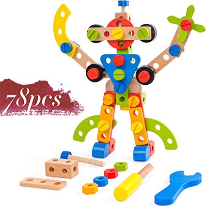 Buy Wooden Building Toys 78 Piece for 3 Year Old Boys STEM.