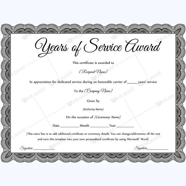 service certificates templates.