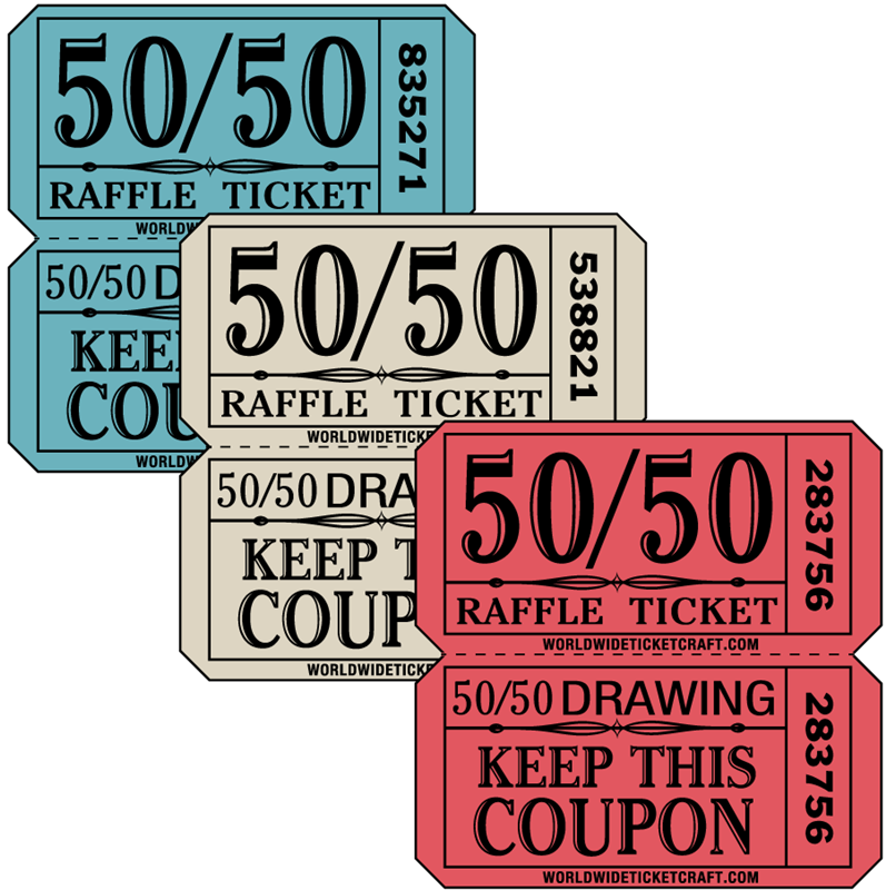 Our double roll 50/50 raffle tickets are perfect for fundraisers.
