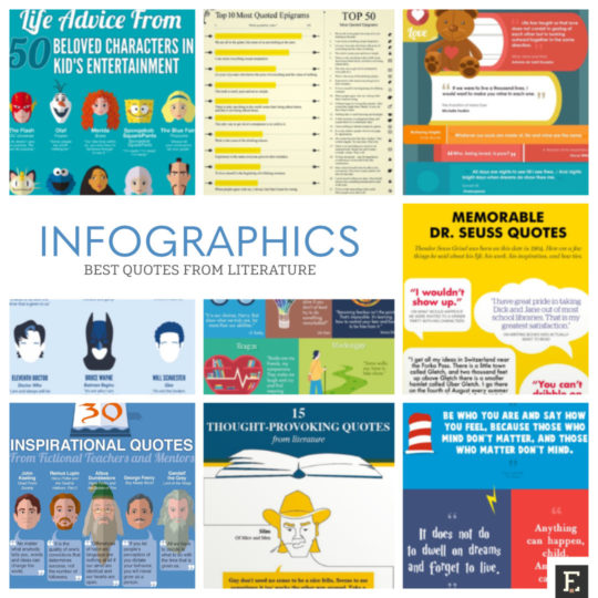 15 infographics with the best quotes from literature.