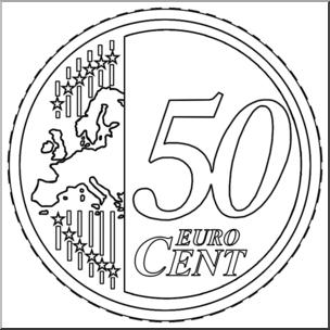 Clip Art: Euro 50 Cent B&W I abcteach.com.