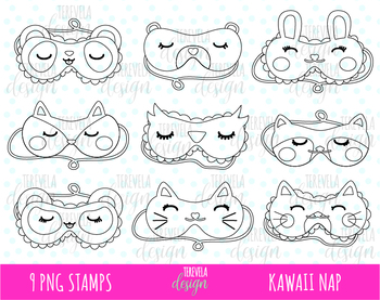 50% SALE Sleeping mask clipart, nap clipart, slumber party, black and white.
