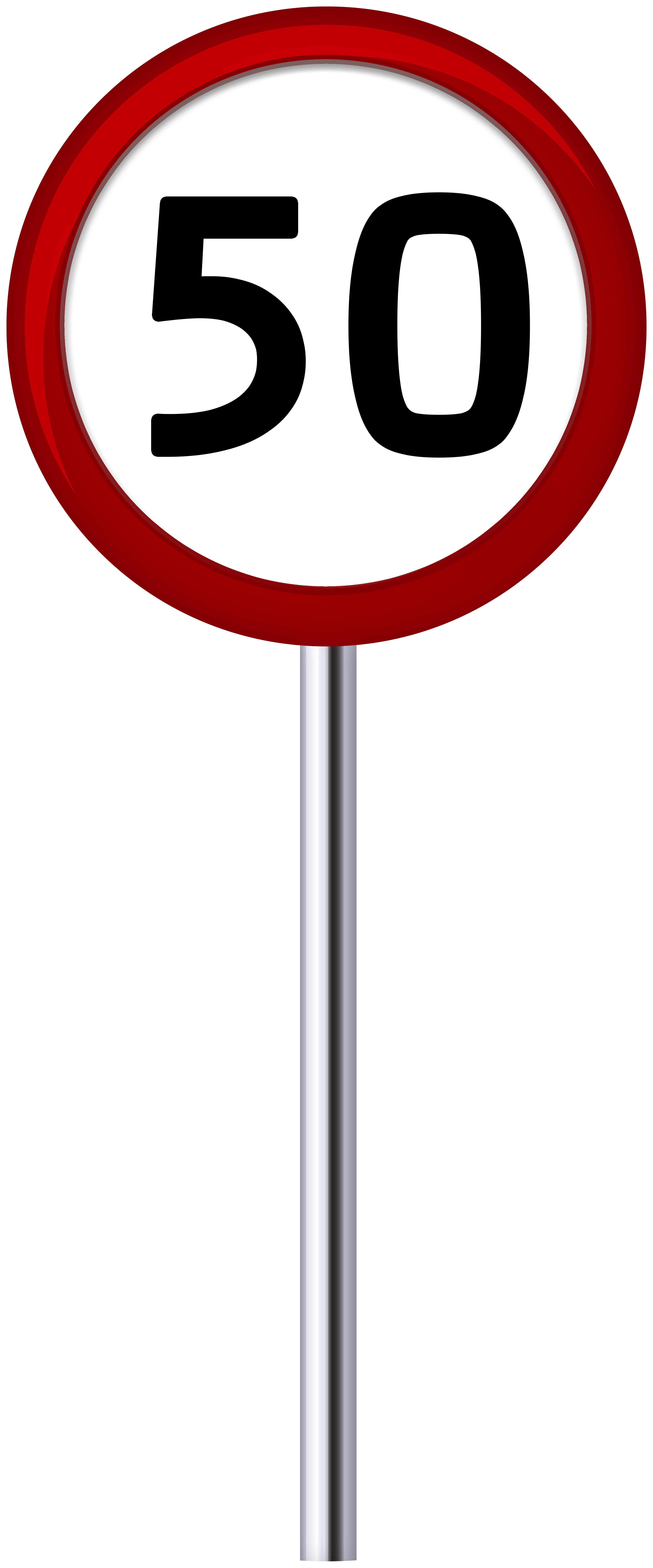 Traffic Sign Speed Limit 50 PNG Clip Art.