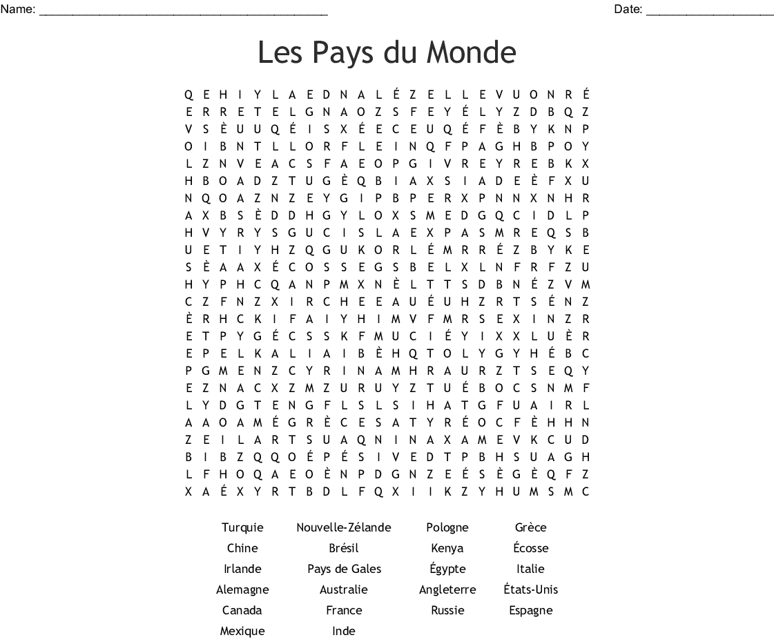 French countries Word Search.