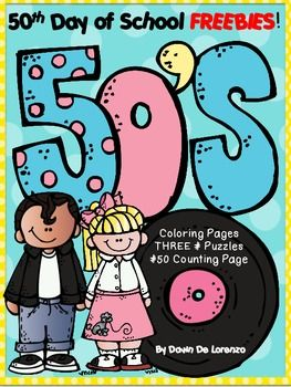 50th Day of School FREEBIE! {Coloring, Counting & # Puzzles.