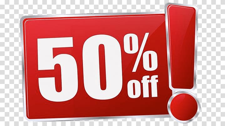 Red and white 50% off! sign, 50% Discount transparent.