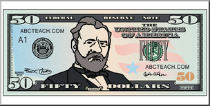 Clip Art: Fifty Dollar Bill Color Front.