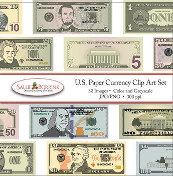 U.S. Money Paper Currency Clip Art.