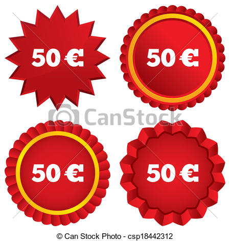 Clipart of 50 Euro sign icon. EUR currency symbol. Money label.