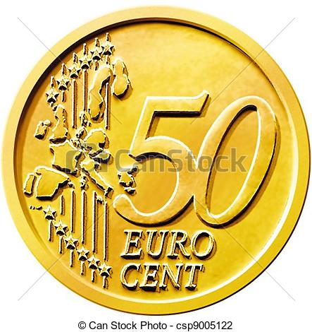 Clip Art of Fifty (50) Cent Euro Coin.