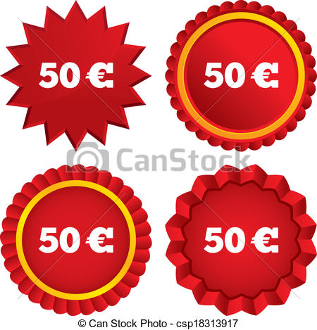Vector Clip Art of 50 Euro sign icon. EUR currency symbol. Money.