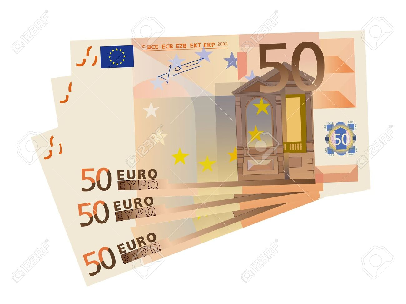 Vector Drawing Of A 3x 50 Euro Bills (isolated) Royalty Free.
