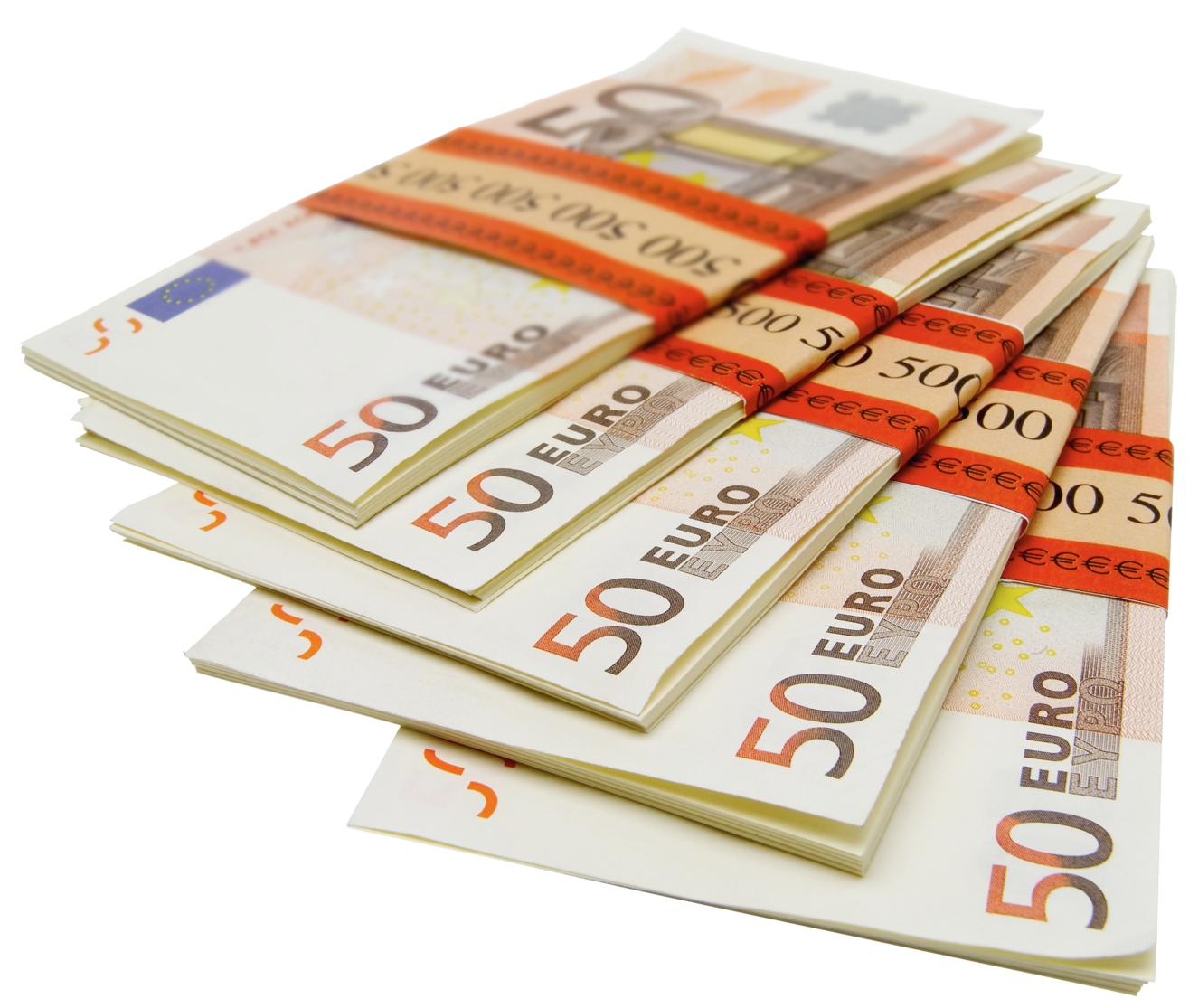 50 Euro Stacks PNG Picture.