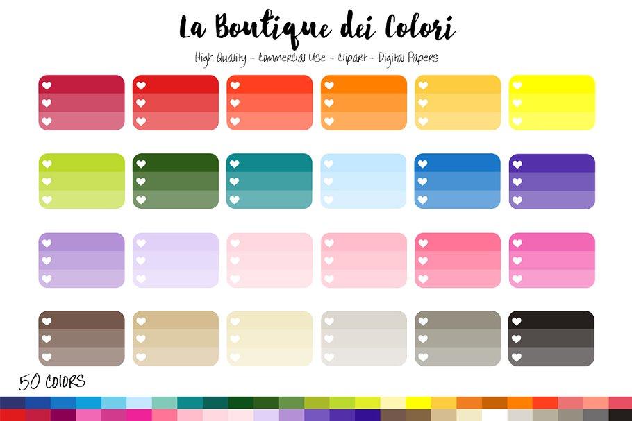 50 Rainbow Ombre Checklist Clip Art.