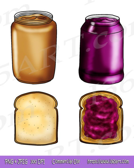 Peanut Butter and Jelly Sandwich Clipart, school lunch.