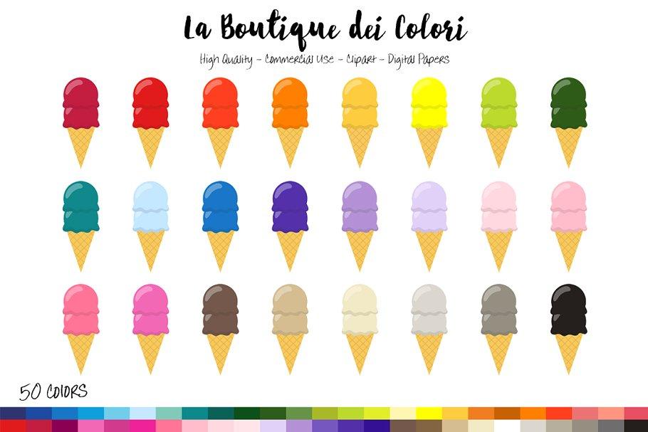 50 Rainbow Ice Cream Clip Art ~ Illustrations ~ Creative Market.