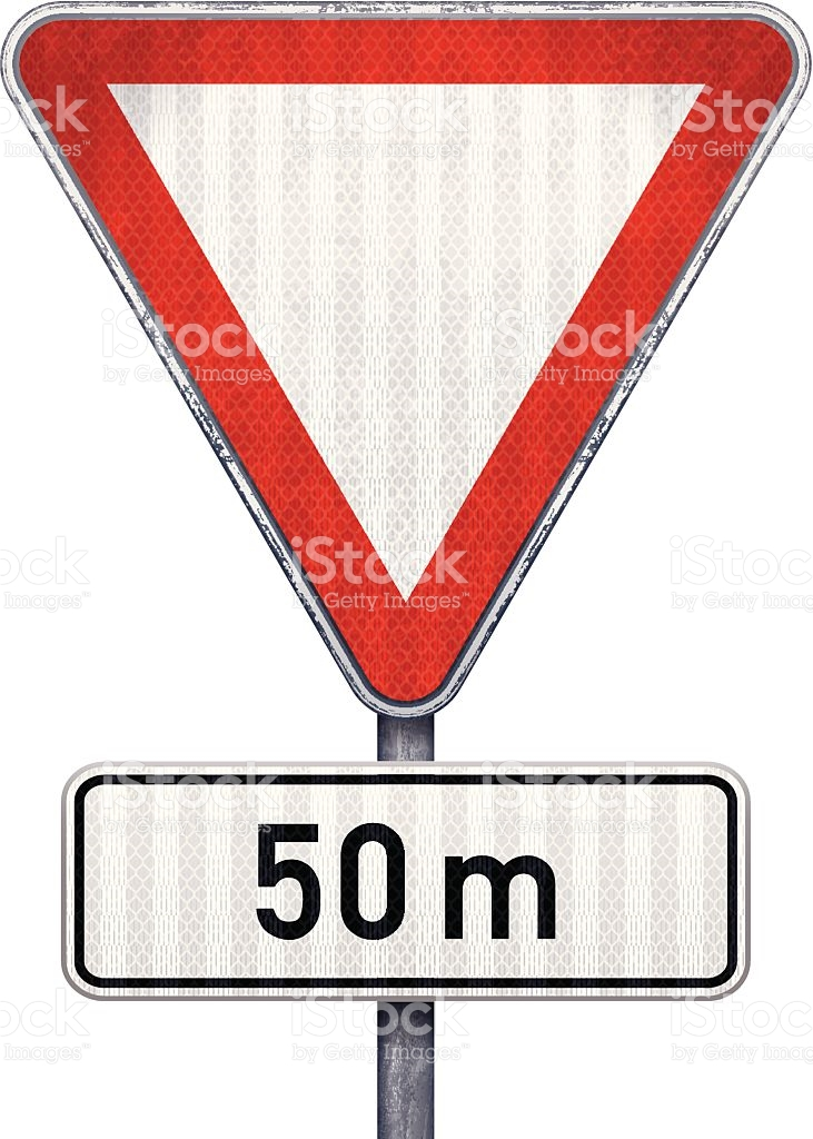 Blank Triangular Road Sign With 50 Meters Ahead To Hazard stock.