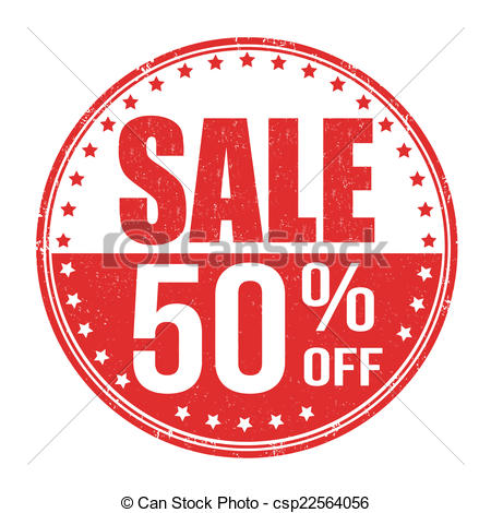 Sale 50% off stamp.