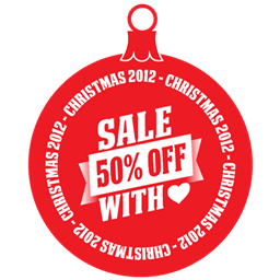 Sale 50 percent off heart Icon.