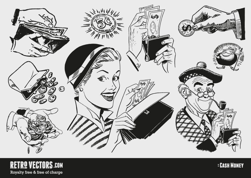 50s 60s clipart: Money.